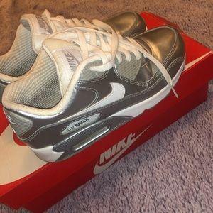 Metallic silver Nike Air Max 90 Prem Ltr